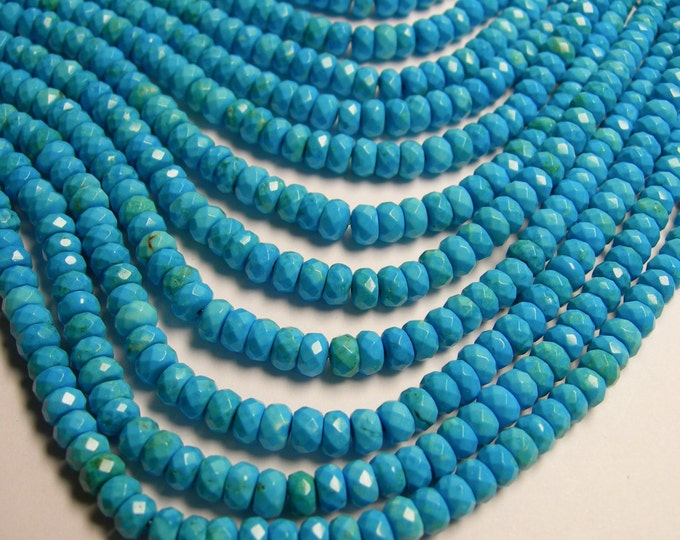 Howlite turquoise - 6mm faceted rondelle beads -1 full strand - 108 beads - 4mmx6mm - RFG367