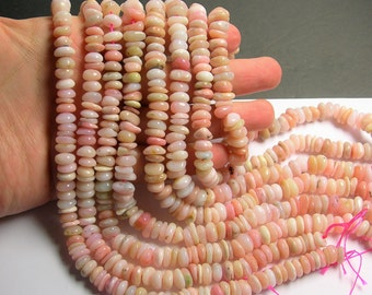 Pink Opal Gemstone - rounded pebble chip  - Pink Peruvian opal - 9mm -  full strand - PSC393