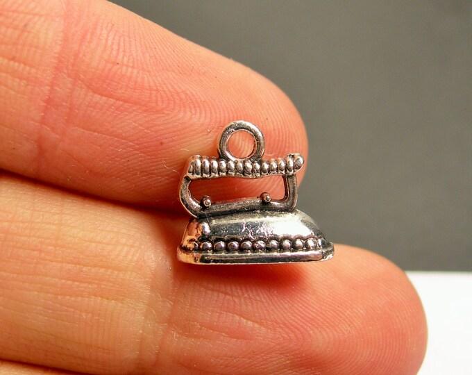 12 iron silver charms - Silver tone iron charms - 12 pcs  - ASA154