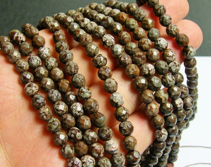 Obsidian 6 mm Faceted -  A quality - 64 beads - full strand - Brown snowflake obsidian - RFG443