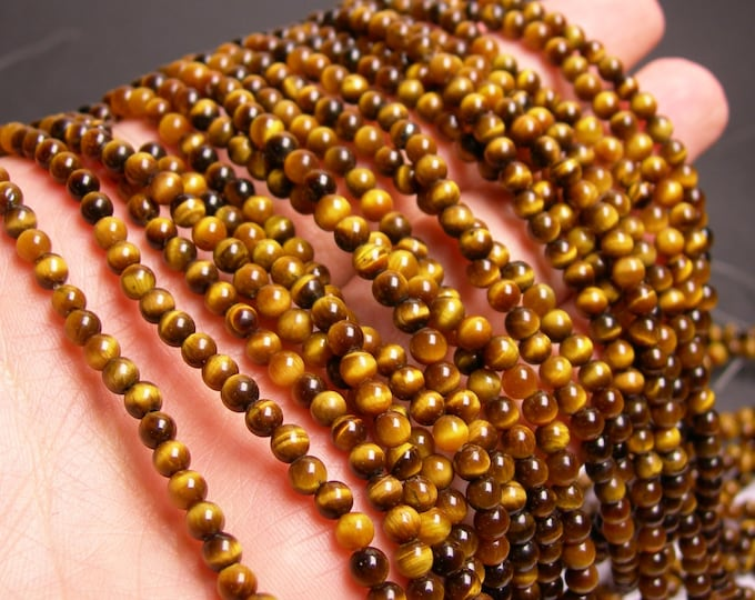 Tiger eye - 4 mm round - 103 beads -  full strand - RFG69