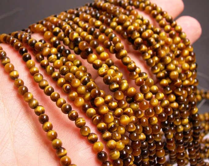 Tiger eyes 4 mm round - 103 beads - 1  full strand - RFG69