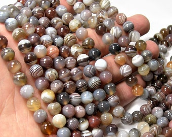Botswana agate - 8 mm round beads -1 full strand - 50 beads - AA quality - RFG1188