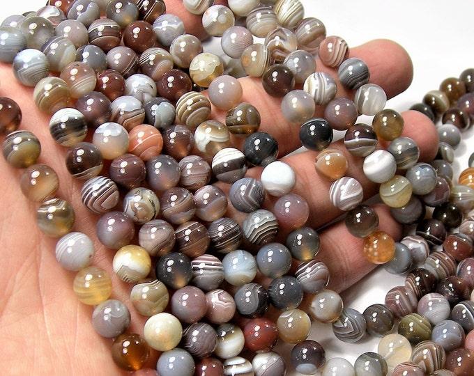 Botswana agate - 8 mm round beads -1 full strand - 50 beads - AA quality - RFG1188
