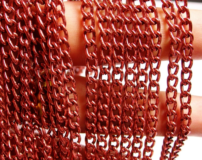 Red copper chain - lead free nickel free won't tarnish .1 meter-3.3 feet made from aluminium -CA 04
