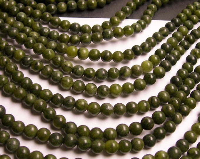 Jade -  8mm - round  - A quality  - 50  beads - full strand - Serpentine jade - WHOLESALE DEAL - RFG84