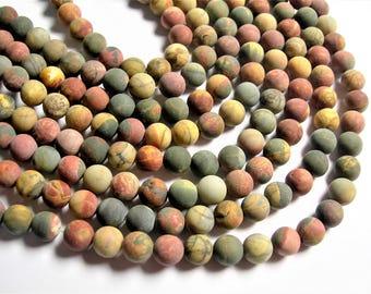 Red creek jasper Matte - 8 mm - 49 beads - full strand - Matte - RFG748