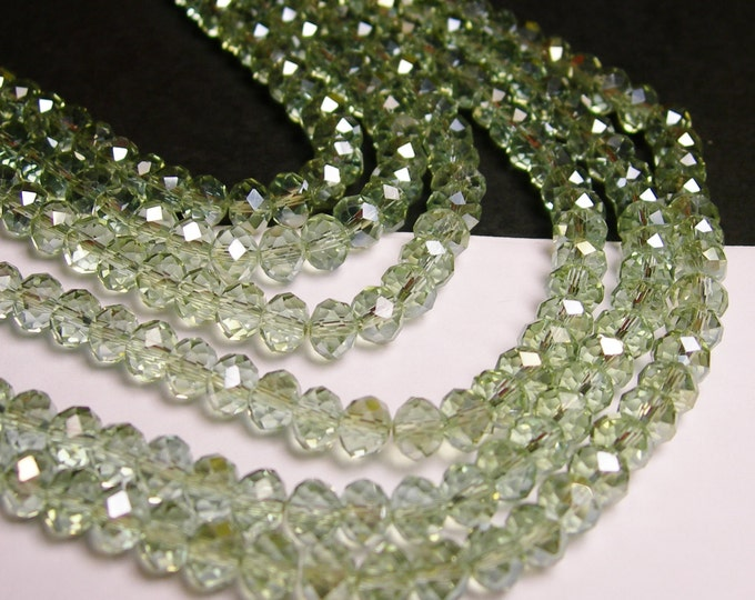 Crystal faceted rondelle - 100 beads - 6 mm - AA quality - light green sparkle  - full strand - CBFB6