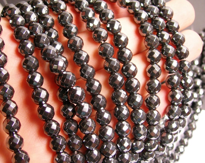 Hematite - 8mm(7.5mm)  faceted big cut beads - full strand - 55 beads - AA quality - CHG17