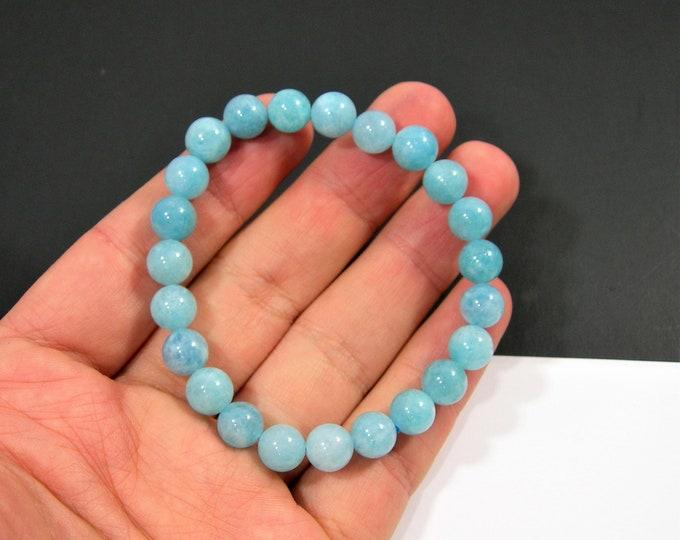 Blue sponge quartz - 8mm round beads - 23 beads - 1 set - A quality - HSG100