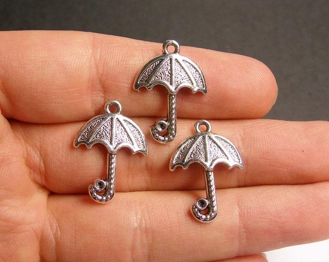 12 umbrella silver tone charms -  12 pcs - ASA80
