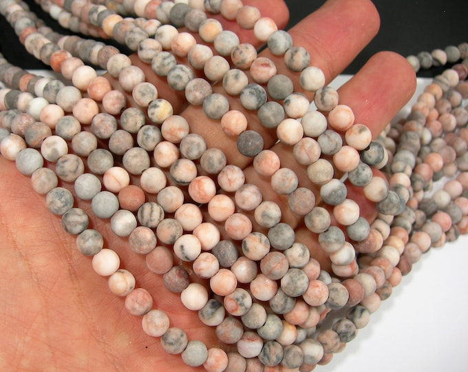 Pink zebra jasper- 6 mm round beads - full strand - 64 beads - matte - WHOLESALE DEAL - RFG2089
