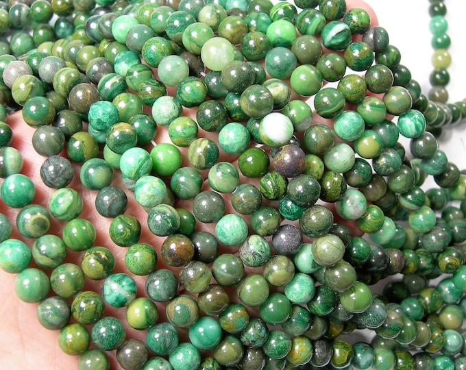 Verdite 8mm round - full strand - 49 beads -  Matrix Verdite - RFG1625