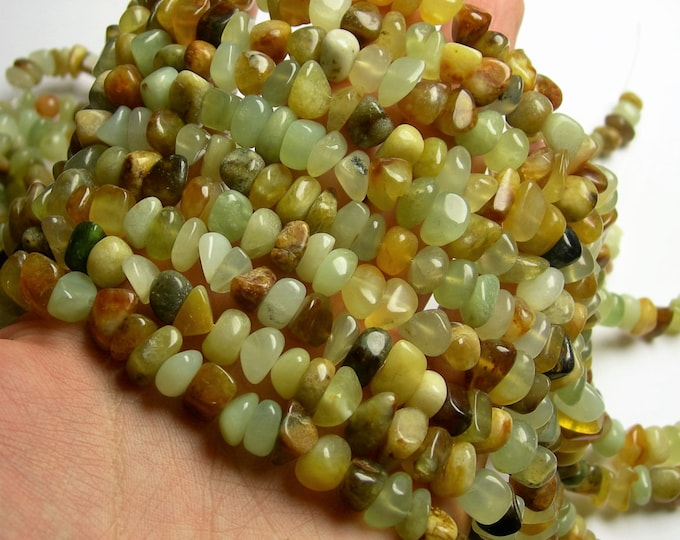 New Jade  - rounded nugget chip beads - full strand - Flower jade - PSC288