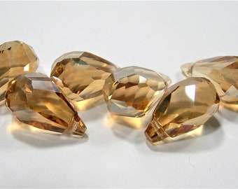 Crystal briolette  - 6 pcs - 10mmx17mm - top sideways drill - Faceted teardrop crystal  beads - yellow topaz - CBC19