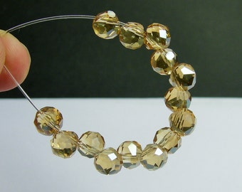 24pcs Faceted crystal onion briolette beads - 8mm - top sideways drill - yellow topaz - BCO7