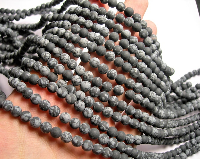 Snowflake Obsidian matte - 6 mm - 64 beads per strand - full strand - Matte - A quality - WHOLESALE DEAL - RFG1190
