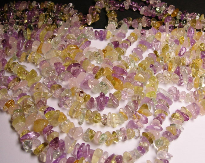 Citrine - amethyst - prehnite - rose quartz - mix quartz gemstone  - bead - full strand - pebble - chip stone - NRG91