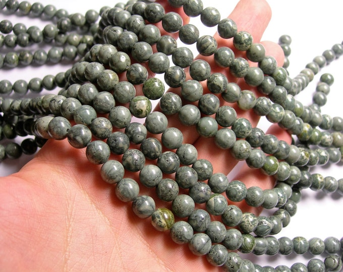 Grey Brecciated jasper - 8mm round beads - full strand - 48 beads - A Quality - RFG1036