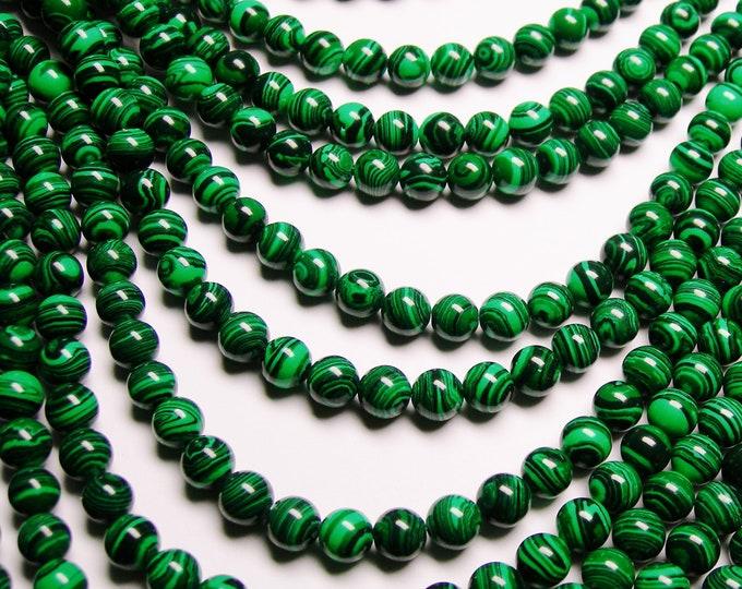 Malachite - 8 mm round beads -1 full strand - 50 beads - Reconstituted