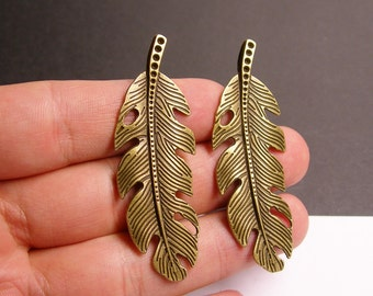 4 pcs antique bronze feather charms - 60mm - BAZ42