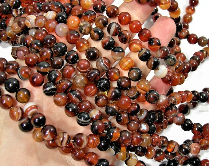 Carnelian Banded Agate - 8mm round beads -  full strand - 48 beads per strand - dark tone banded carnelian - RFG1626