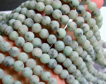 Lotus Jasper matte - 8 mm round   beads -1 full strand - 48 beads - sesame jasper - kiwi jasper - matte - RFG749
