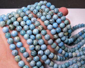 Blue Crazy Lace Agate - 8mm round - 1 full strand - 48 beads - A quality - light blue crazy lace - RFG1597