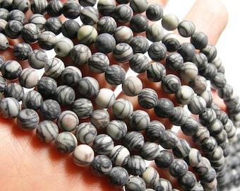 Silk Stone matte - 6mm ( 5.8mm)- round bead - 70 beads - full strand - matte - Spider Jasper - RFG1041