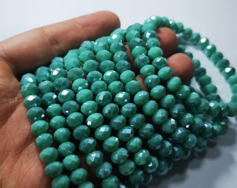 Crystal elastic - 30 beads - 8 mm - 1 set - Aqua turquoise  - HSC7
