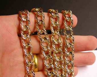 Gold chain - lead free nickel free won't tarnish - 1 meter- 3.3 feet - made from aluminum - textured curb chain - NTAC54
