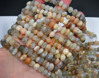 Moonstone nugget beads - full strand - mix grey moonstone - 8mm -  55 beads - RFG1796