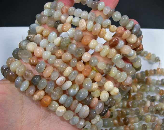 Moonstone nugget beads - full strand - mix grey moonstone - 8mm -  55 beads - RFG1796