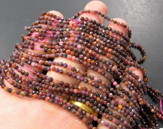 Ruby Corundum - 2mm(2.65mm) micro faceted round beads - full strand - 145 beads - Mix tone Corundum mineral - PG382