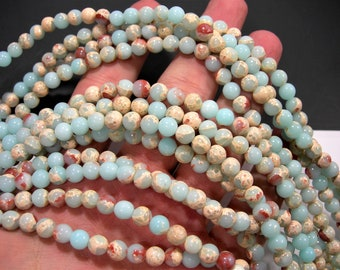 Impression Jasper - 6mm round beads - full strand - 64 beads - reconstituted -  A quality - RFG1913