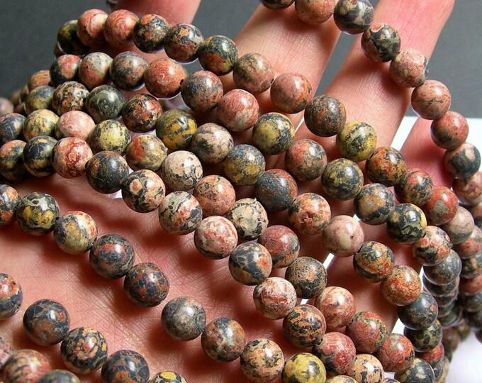 Leopard skin Jasper - 8 mm round beads - full strand - 48 beads - WHOLESALE DEAL - RFG766