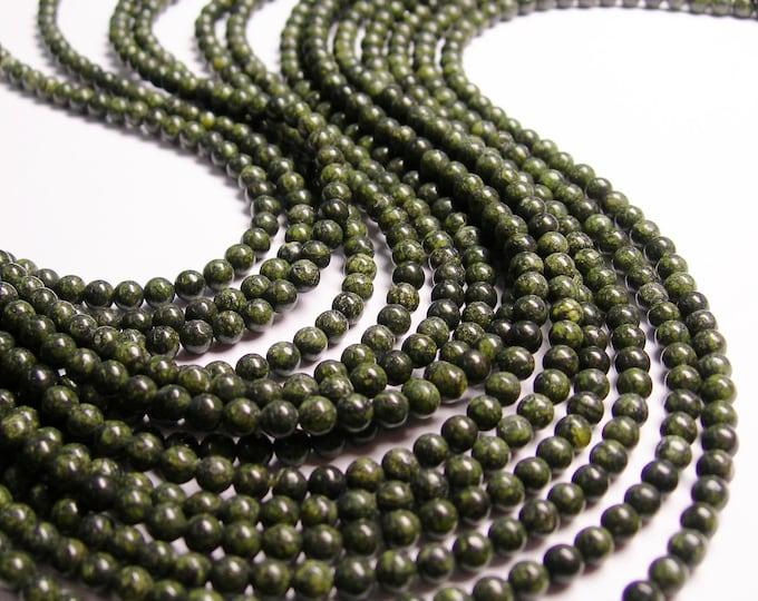 Russian Serpentine - 4 mm round beads -1 full strand - 95 beads - A quality - dark - RFG1100