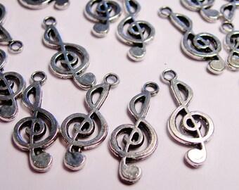24 Treble Clef charms - music note - 24 pcs - ASA54