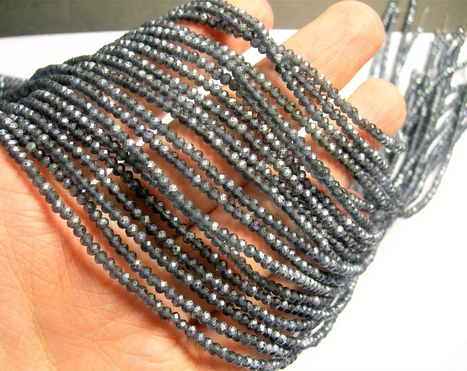 Crystal - rondelle faceted 3mm x  2mm beads - 196 beads - AA quality - Mystic black purple ab frosted  - CAA2G161