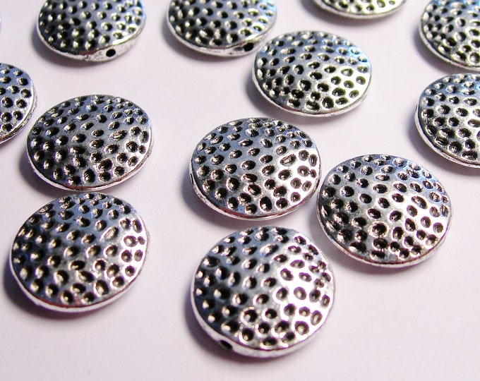 Silver color  beads hypoallergenic- 20 pcs -  engraved textured dotted silver beads - ZAS 89