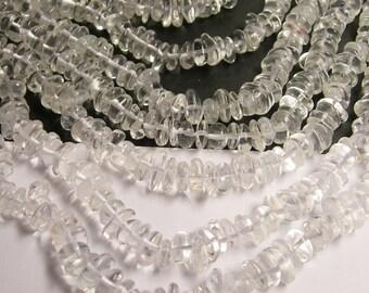 Quartz - bead - full strand - chip disc - pebble - AA quality - clear quartz - PSC151