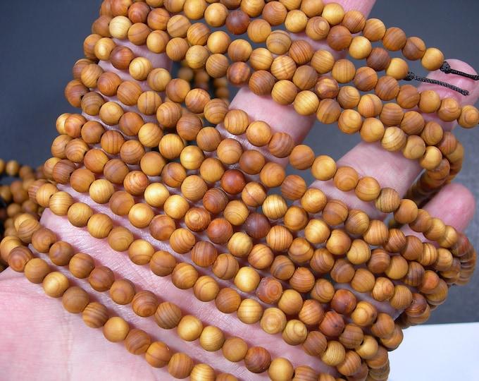 Cedar wood  - 6 mm round beads - full strand - 66 beads - Thuja Sutchuenensis - RFG1886