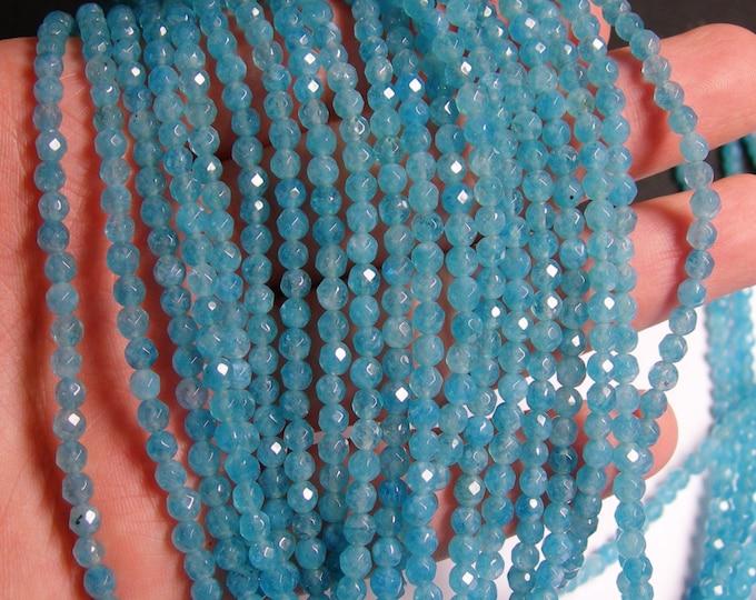 Blue sponge quartz - 4mm faceted beads -1 full strand - 98 beads