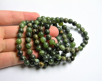 Jade nephrite - 8mm round beads - 23 beads - 1 set - A quality - Dendritic Jade - HSG41