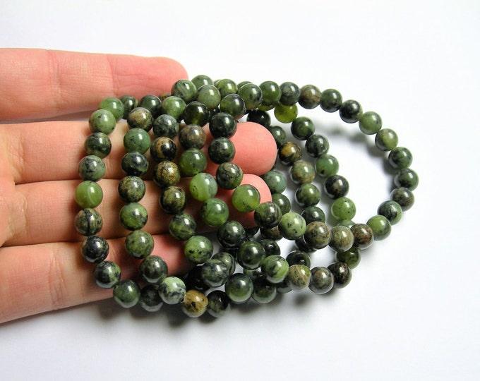 Jade nephrite - 8mm round beads - 23 beads - 1 set - A quality - Dendritic Jade - HSG41
