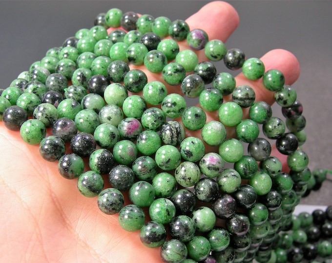 Ruby zoisite - 8mm - 48 beads - full strand - RFG2225