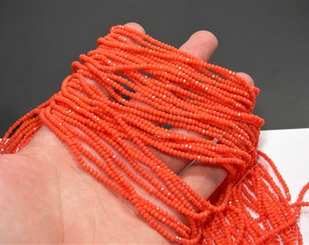 Crystal - rondelle  faceted 3mm x  2mm beads - 196 beads - A quality - Orange - CAA2G155