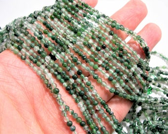 Moss agate - 3mm round beads - 1 full strand - 123 beads - WHOLESALE DEAL - PG3