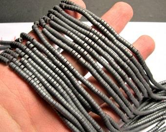 Hematite Matte - 4mm(3.6mm) heishi beads - full strand -195 beads - AA quality - RFG1424