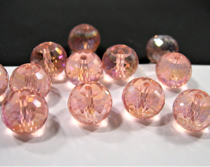 Crystal faceted rondelle barrel  - 12  pcs - 12mmx9mm - AA quality - peach pink - RFG1987